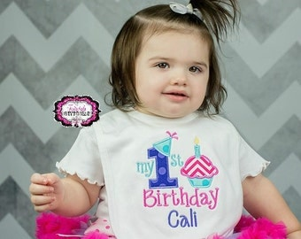 My First Birthday, My First Birthday Bib, Birthday Bib, First Birthday Bib, Cupcake Bib, Girl Birthday Bib, First Birthday
