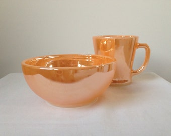 Anchor Hocking, Fire King - Peach Luster - Chili Bowl and D-handle Mug