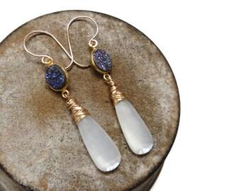 White Moonstone & Shimmering Blue Druzy Gold Filled Dangle Earrings