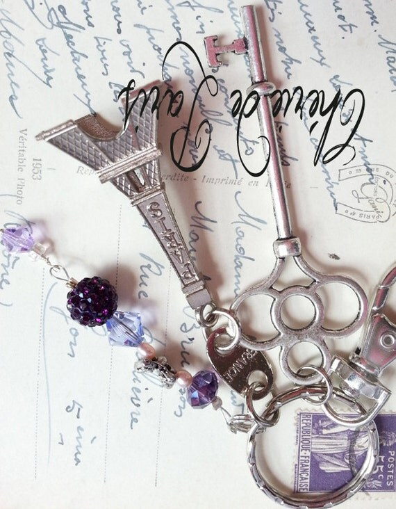 Springtime in Paris Tour Eiffel with Butterfly Keychain Keyring Necklace, French Chic, Handmade