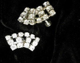 Vintage Rhinestone Earrings, Screw-Type   ECS