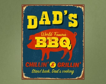 Vintage Printed Wall Sign Dads BBQ Repositionable Removable Print Fabric, vintage sign wall decal gifts for dad gifts for grillers
