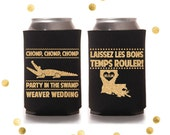 Chomp Chomp Chomp Party in the Swamp - Custom Can Cooler - Wedding Favor Party Gift - Personalized Louisiana - Laissez les bon temps rouler!