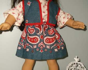 18 Inch Doll Cowgirl/ Western 3 peice denim outfit, skirt, top and vest by Project Funway on Etsy
