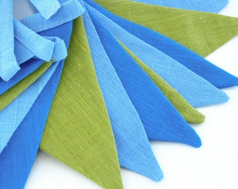 Bunting / Fabric Flag Banner / Pennant Nursery / Porch / Patio Decor / Photo Prop / Sky Blue / Deep Sky Blue / YellowGreen