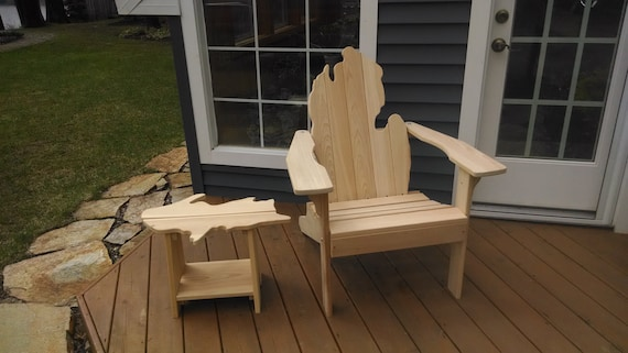 Michigan Adirondack Chair With Upper Peninsula Side Table
