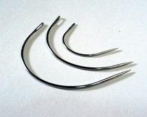 3 Curved Hand Sewing needles Sharps General use mixed size great for upholstery