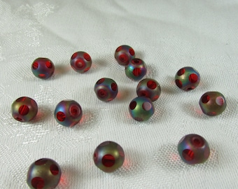 Vintage cut glass red with iridescent beads