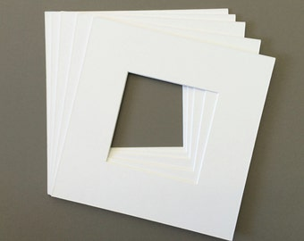 Pack of (5) Square Picture Mats with White Core Bevel Cut For Various Square or Rectangle Openings-Over 30 Colors to Choose From