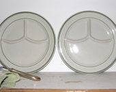 Early Sterling Restaurantware Grill Plates, Sterling China, Green Stripe Sterling