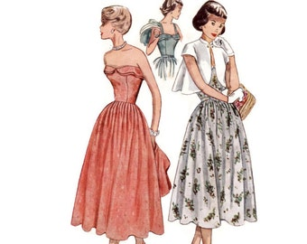 1950 Evening Dress Pattern Simplicity 3124, Strapless Cuff Bust or Strap Sundress, Flared Bolero Jacket, Vintage Sewing Pattern Bust 34