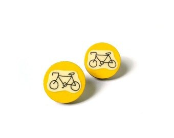 Mustard Yellow Illustrated Wooden Bicycle Earrings