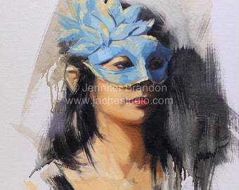 Woman Behind the Mask - Portrait - Oil Painting by Jennifer Brandon - Jaché Studio