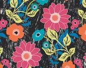 SALE - JUNGLE AVE by Sara Lawson for Art Gallery Fabrics - Floral Asphalt - 1 Yard - Quilting Weight Cotton