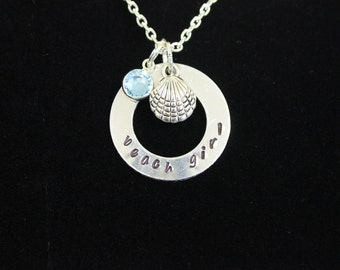 Beach Girl Hand Stamped Necklace with Silver Seashell Charm and Swarovski Drop Crystal