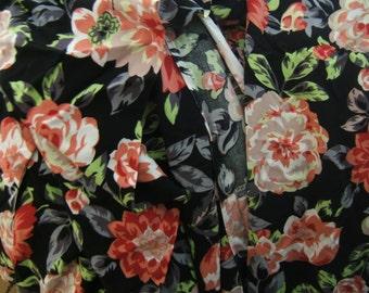 Sale dollar taken off Black floral polyester jersey yardage