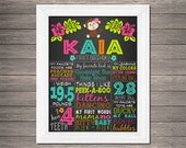 Hula Monkey Chalkboard Birthday or School Year Sign | Digital DIY Printable | Safari | Poster | Many Size Choices
