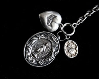 SALE-Antique French Silver Reliquary Locket  Containing Relic , Beautiful & Detailed