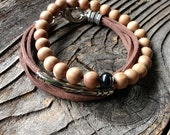 Men's Sandalwood Beaded Bracelet Unisex Light Brown Boho Bracelet Beaded Stretch Boho Bracelet
