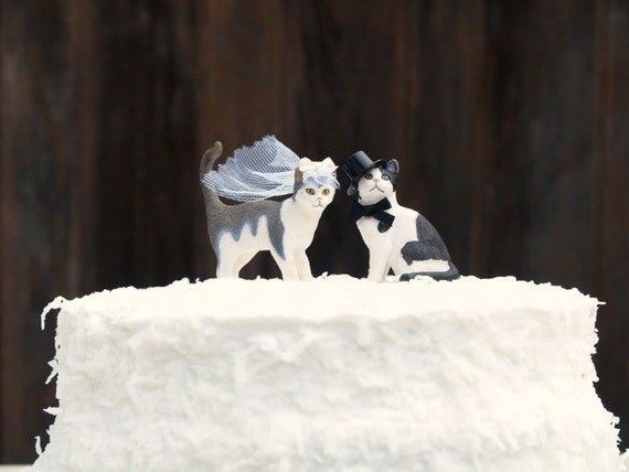 wedding cake toppers with dogs and cats cat wedding cake topper amp groom animal lover kitty 26631