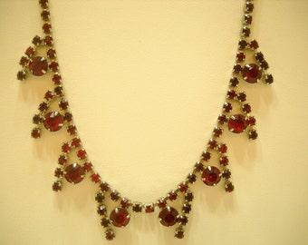 Vintage Red Rhinestone Choker Necklace (3772) Gorgeous!