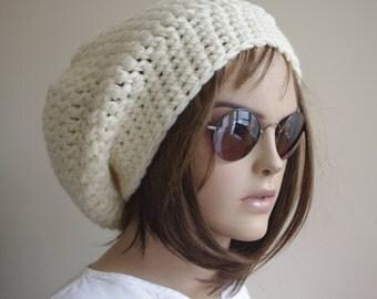 CREAM Crochet Hat Cloche Hat  ivory  Spring Fall Autumn Winter Accessories Fashion