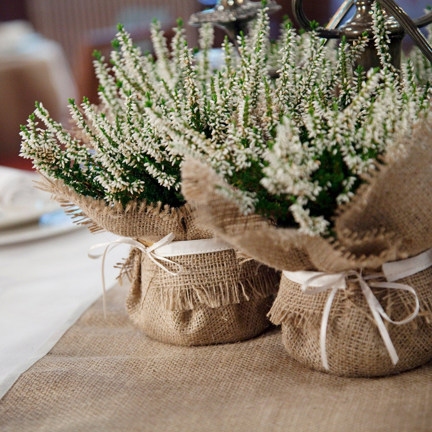 Rustic Wedding Decoration Burlap Plant Wrap With Satin Tie