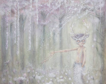 Fairytale Stag Mask painting - woods - trees - boy - furry trousers
