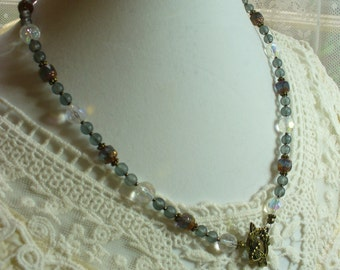 Gray Beaded Necklace, Gray Catherdral Glass Beads, Gray Frosted Glass Beads, Eyeglass Holder, Necklace, Weddings, Dragon Fly, Antique Brass