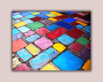Painted spanish tiles, blue, yellow and red photo art print on aluminum