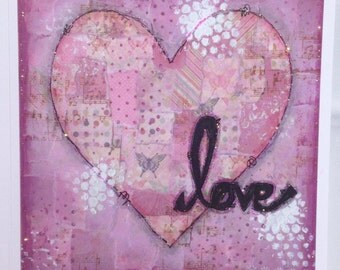 Pink love heart greetings card