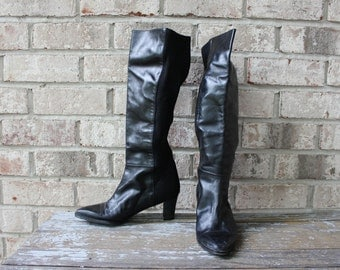 Vintage Stuart Weitzman black leather boots made in Spain like new leather sole tags still on size 6/6.5