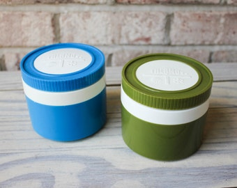 vintage Thermos green and blue to-go containers