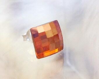 Copper Swarovski Crystal Earrings Square Chessboard square shape Silver Gold or Hypo Titanium Post Minimalist Stud Ladies Jewelry