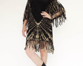 NO.135 Black and Brown Cotton Jersey Fantasy Fringe Top, Tie-Dyed Tunic, Day Dress