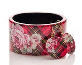 Scottish tartan pattern with Floral elements . Jewelry Set Wood Bracelet & Earrings . Chic Square Red White Black Bangle Winter Fashion 2014