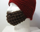 Crochet Bearded Skullcap - Beard Hat - Hat with Beard Face Warmer - Cranberry Red Hat - Ready To Ship!