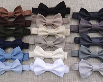 Wedding party ring bearer bow tie baby boy linen accessories boy first birthday bow tie many color kids gray white natural rustic bow tie
