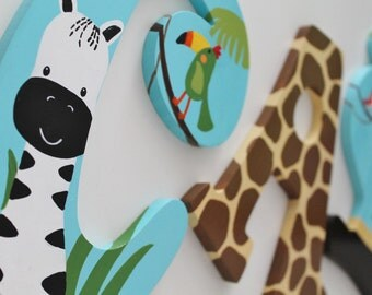 Lambs and Ivy Peek A Boo Safari Themed Wooden Letters for Nursery or Bedroom