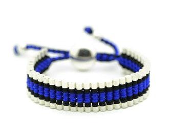 Link Friendship Bracelet - Black with Blue Strips  (One Direction)