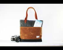 waxed heavy canvas tote bag - made in USA - EXPLORER BAG 101