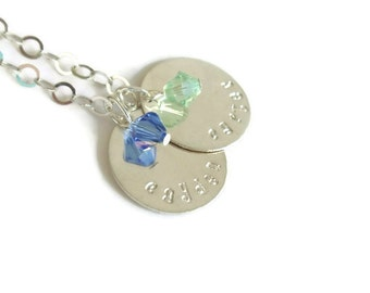 sterling silver personalized necklace // two charms // hand stamped jewelry