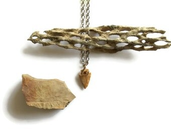 wire wrapped arrowhead necklace // antiqued brass tribal jewelry