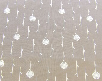 Warm grey quilting cotton, White forest print on grey, September blue from dashwood studio