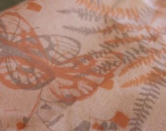 Vintage Twin Flat Sheet (2 matching Available) of Vera Neuman for Burlington peach and gray ferns,  butterflies