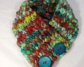 Chunky Knit Cowl Scarf with Vintage Wooden Buttons