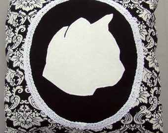 "YourPet Silhouette - Custom Cushion Cover - 12"" Sq. Throw Pillow Sham - Pet Cameo"