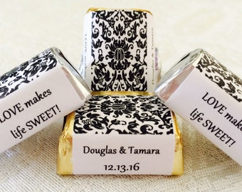 210 Black and White DAMASK PATTERN Personalized Candy labels/wrappers/stickers for wedding or any party/event