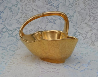 22kt Embossed Gold Porcelain Basket Pickard China Vintage Decor 1950's Collectible Nut Dish Candy Dish