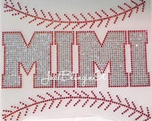 Baseball MIMI with Stitching Iron On Rhinestone Transfer Applique DIY